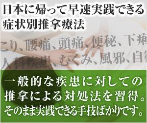 日本に帰って早速実践できる症状別推拿療法 肩こり、腰痛、頭痛、便秘、下痢、精神不安定、婦人科疾患、むくみ、風邪、自律神経失調、一般的な疾患に対しての推拿による対処法を習得。そのまま実践できる手技ばかりです。