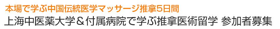 本場で学ぶ中国伝統医学マッサージ推拿上海中医薬大学&付属病院で学ぶ推拿医術留学 参加者募集